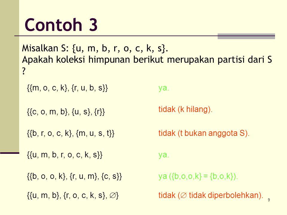 9 Misalkan S: {u, m, b, r, o, c, k, s}. Apakah koleksi himpunan berikut merupakan partisi dari S ? {{m, o, c, k}, {r, u, b, s}}ya. {{c, o, m, b}, {u,