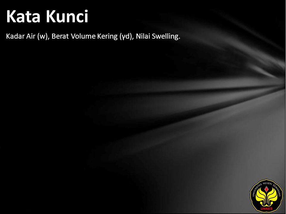Kata Kunci Kadar Air (w), Berat Volume Kering (γd), Nilai Swelling.
