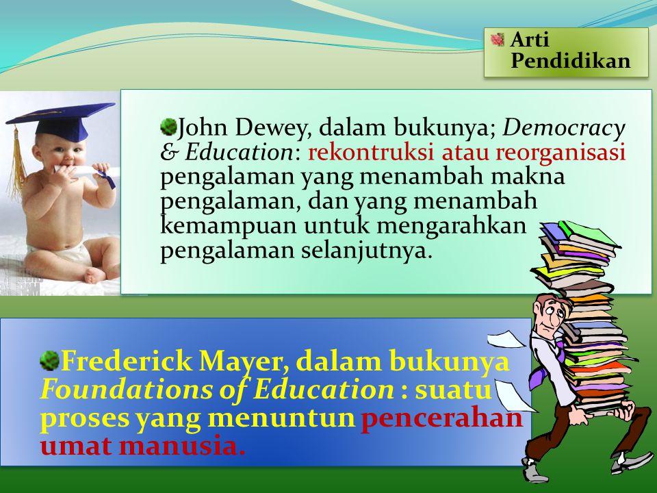 John Dewey, dalam bukunya; Democracy & Education: rekontruksi atau reorganisasi pengalaman yang menambah makna pengalaman, dan yang menambah kemampuan
