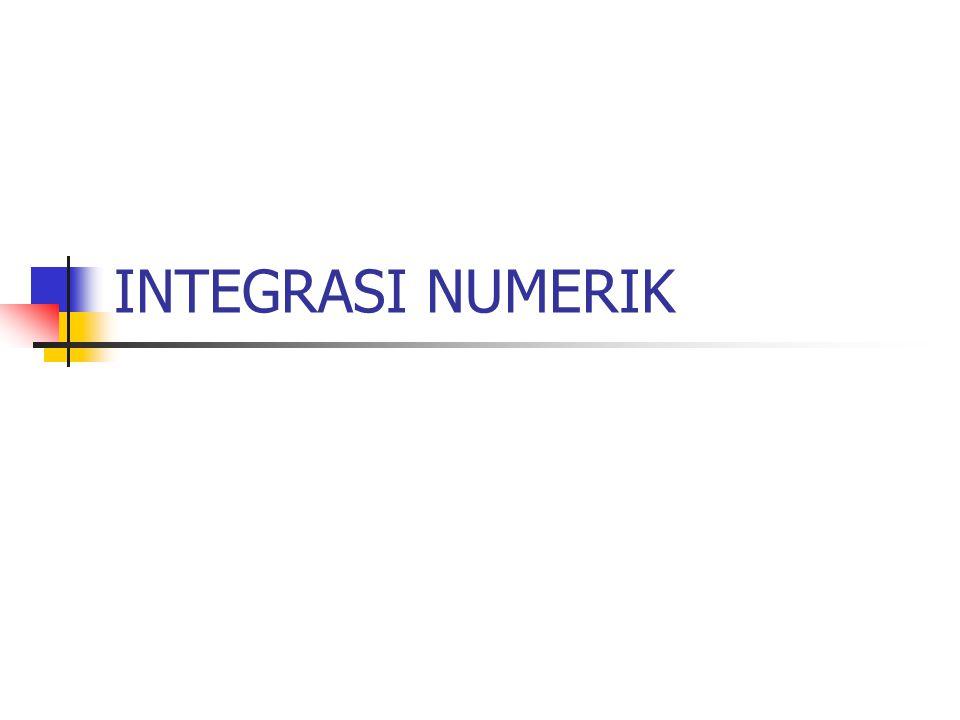 Di dalam kalkulus, terdapat dua hal penting yaitu integral dan turunan(derivative) Pengintegralan numerik merupakan alat atau cara yang digunakan oleh ilmuwan untuk memperoleh jawaban hampiran (aproksimasi) dari pengintegralan yang tidak dapat diselesaikan secara analitik.
