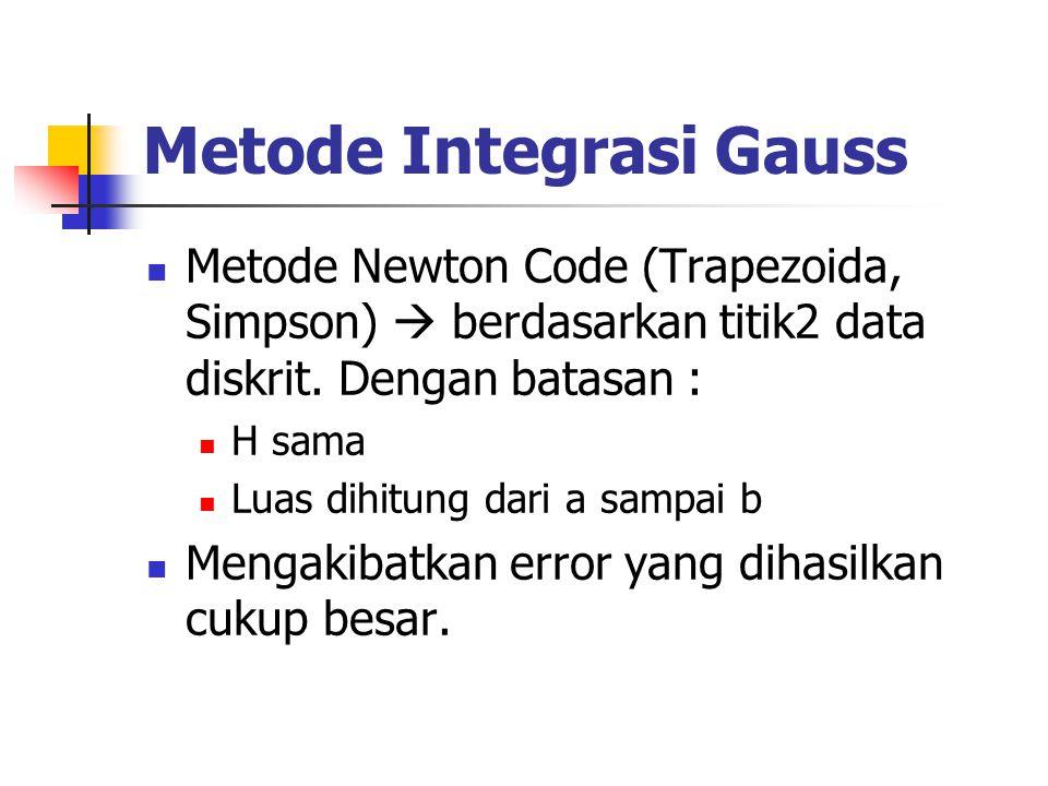 Metode Integrasi Gauss Metode Newton Code (Trapezoida, Simpson)  berdasarkan titik2 data diskrit. Dengan batasan : H sama Luas dihitung dari a sampai