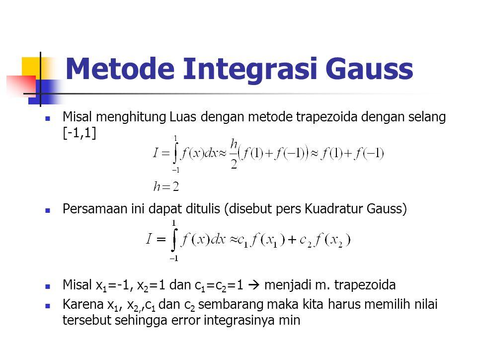 Metode Integrasi Gauss Misal menghitung Luas dengan metode trapezoida dengan selang [-1,1] Persamaan ini dapat ditulis (disebut pers Kuadratur Gauss)