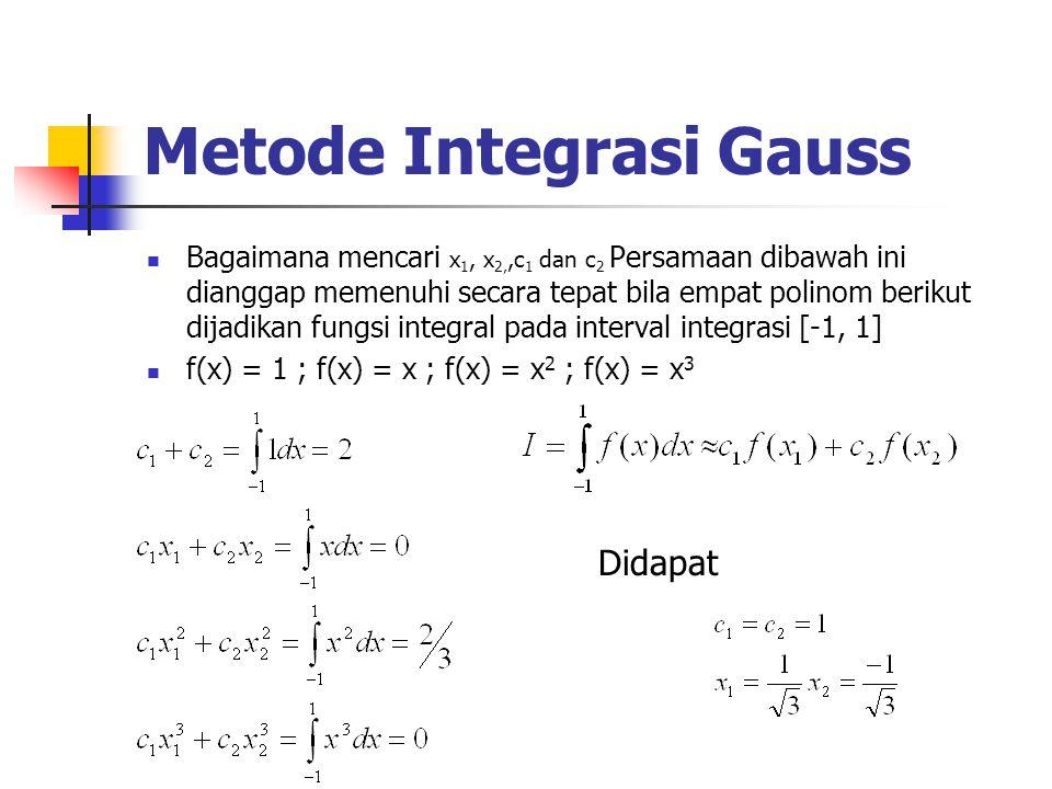 Metode Integrasi Gauss Bagaimana mencari x 1, x 2,,c 1 dan c 2 Persamaan dibawah ini dianggap memenuhi secara tepat bila empat polinom berikut dijadik