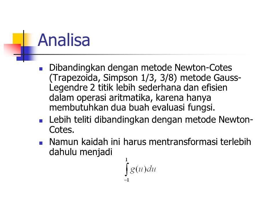 Analisa Dibandingkan dengan metode Newton-Cotes (Trapezoida, Simpson 1/3, 3/8) metode Gauss- Legendre 2 titik lebih sederhana dan efisien dalam operas