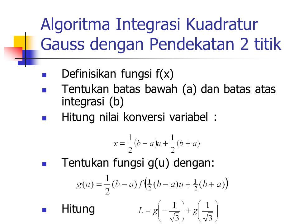 Algoritma Integrasi Kuadratur Gauss dengan Pendekatan 2 titik Definisikan fungsi f(x) Tentukan batas bawah (a) dan batas atas integrasi (b) Hitung nil