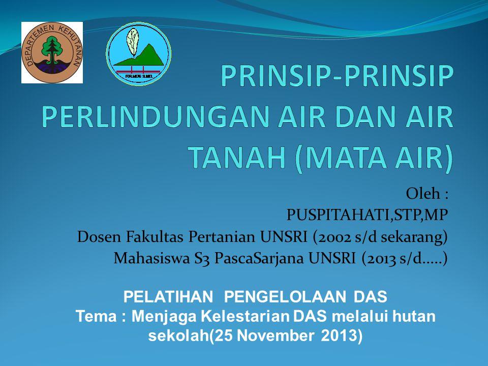 Oleh : PUSPITAHATI,STP,MP Dosen Fakultas Pertanian UNSRI (2002 s/d sekarang) Mahasiswa S3 PascaSarjana UNSRI (2013 s/d.....) PELATIHAN PENGELOLAAN DAS