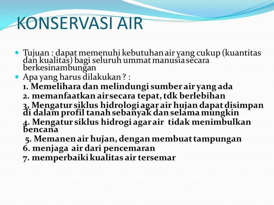 KONSERVASI AIR Tujuan : dapat memenuhi kebutuhan air yang cukup (kuantitas dan kualitas) bagi seluruh ummat manusia secara berkesinambungan Apa yang h