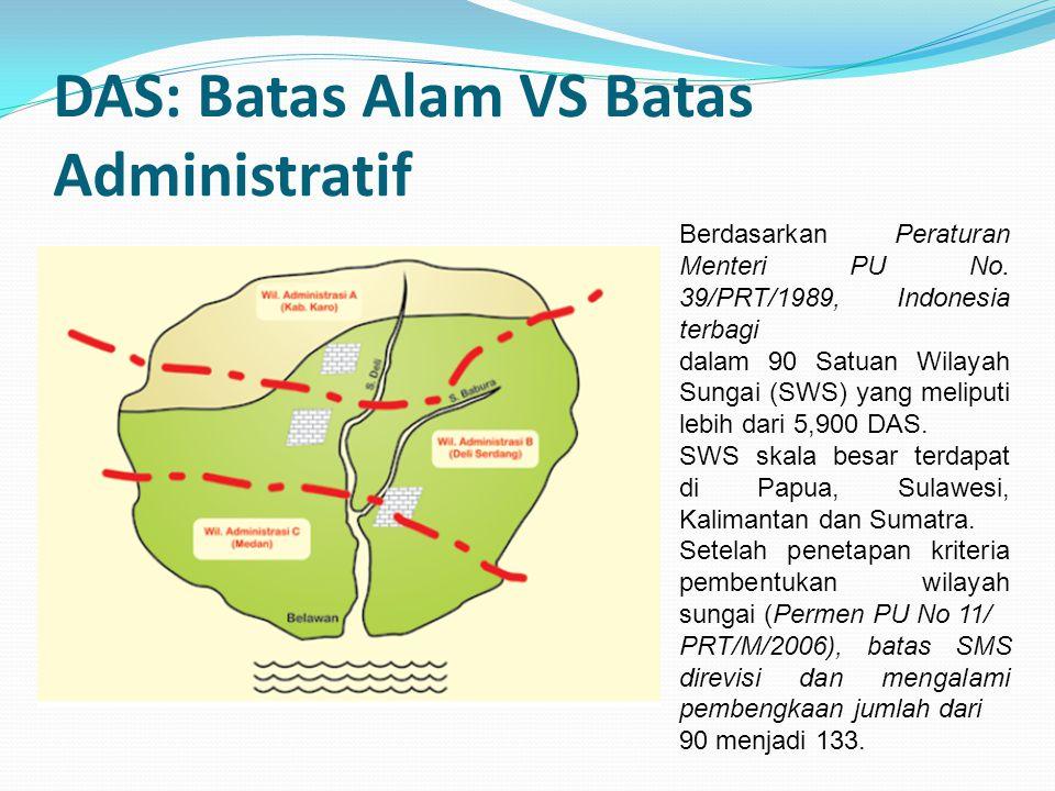 DAS: Batas Alam VS Batas Administratif Berdasarkan Peraturan Menteri PU No. 39/PRT/1989, Indonesia terbagi dalam 90 Satuan Wilayah Sungai (SWS) yang m