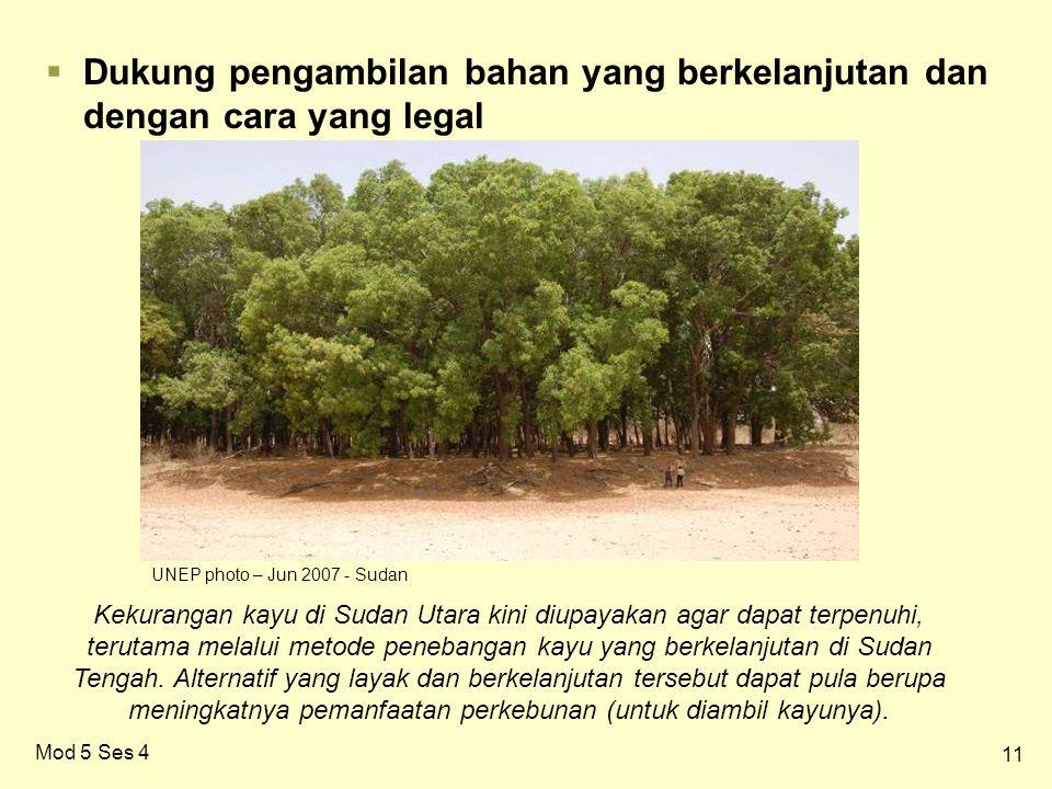 11 Mod 5 Ses 4  Dukung pengambilan bahan yang berkelanjutan dan dengan cara yang legal Kekurangan kayu di Sudan Utara kini diupayakan agar dapat terpenuhi, terutama melalui metode penebangan kayu yang berkelanjutan di Sudan Tengah.