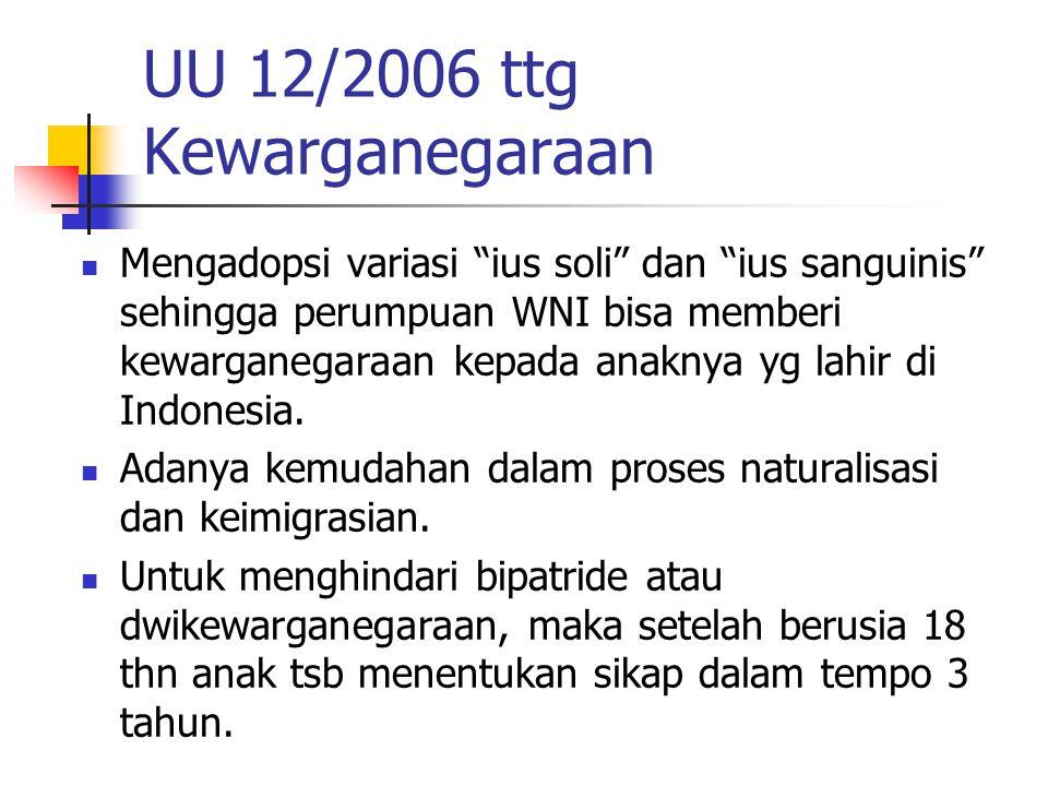 UU 12/2006 ttg Kewarganegaraan Mengadopsi variasi ius soli dan ius sanguinis sehingga perumpuan WNI bisa memberi kewarganegaraan kepada anaknya yg lahir di Indonesia.