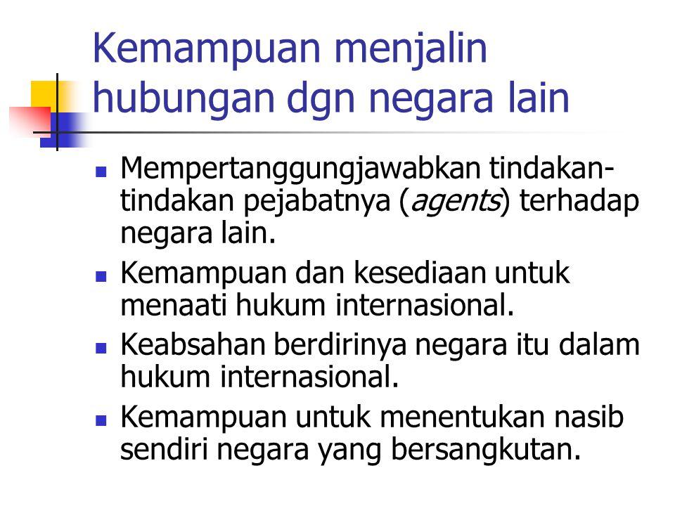 Kemampuan menjalin hubungan dgn negara lain Mempertanggungjawabkan tindakan- tindakan pejabatnya (agents) terhadap negara lain.
