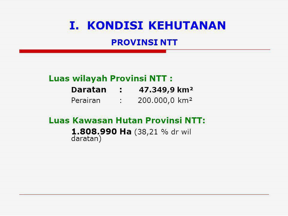 I. KONDISI KEHUTANAN Luas wilayah Provinsi NTT : D aratan: 47.349,9 km² Perairan: 200.000,0 km² Luas Kawasan Hutan Provinsi NTT: 1.808.990 Ha (38,21 %