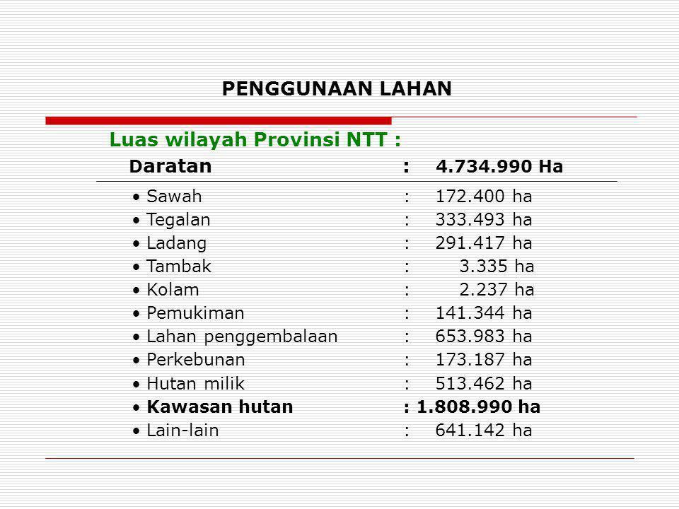 PENGGUNAAN LAHAN Sawah : 172.400 ha Tegalan : 333.493 ha Ladang : 291.417 ha Tambak : 3.335 ha Kolam : 2.237 ha Pemukiman : 141.344 ha Lahan penggemba
