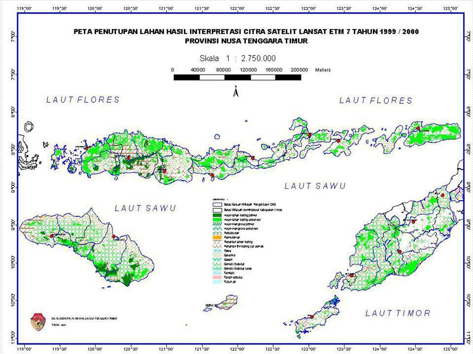LAHAN KRITIS Jumlah lahan kritis 2.109.496,76 hektar (44,55%) luas daratan NTT: Citra Landsat ETM 7 / 2000 Laju lahan kritis selama 20 tahun terakhir : 15.163,65 ha / tahun Dalam Kawasan Hutan 661.680,74 hektar Luar Kawasan Hutan 1.447.816,02 hektar