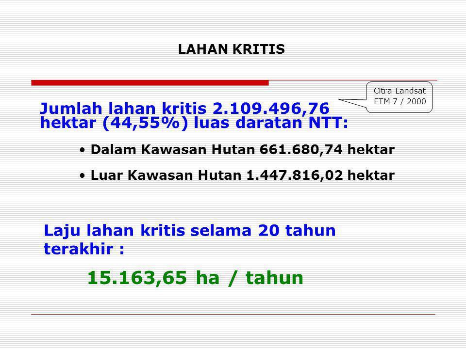 LAHAN KRITIS Jumlah lahan kritis 2.109.496,76 hektar (44,55%) luas daratan NTT: Citra Landsat ETM 7 / 2000 Laju lahan kritis selama 20 tahun terakhir