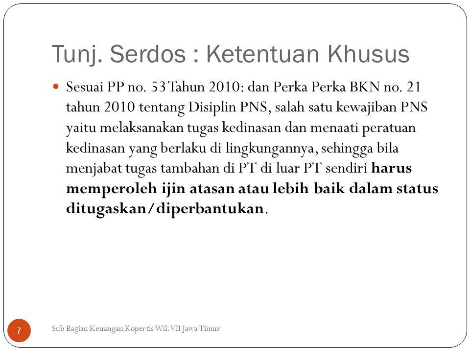 Tunj.Serdos : Ketentuan Khusus Sesuai PP no. 53 Tahun 2010: dan Perka Perka BKN no.