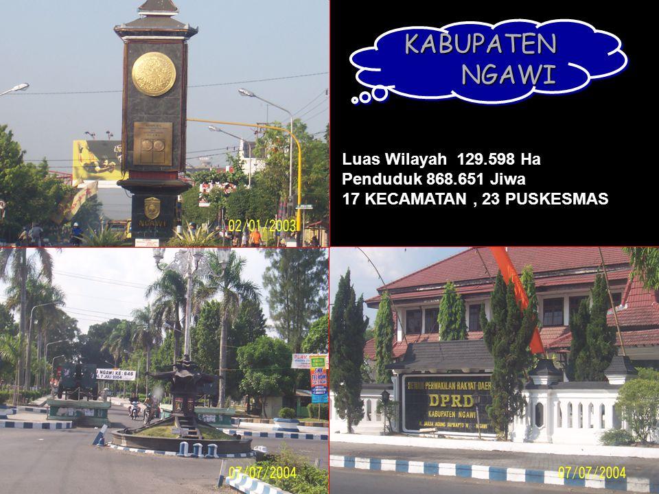 KABUPATEN NGAWI Luas Wilayah 129.598 Ha Penduduk 868.651 Jiwa 17 KECAMATAN, 23 PUSKESMAS