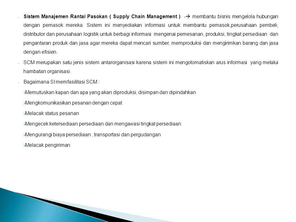 - Sistem Manajemen Rantai Pasokan ( Supply Chain Management ) -  membantu bisnis mengelola hubungan dengan pemasok mereka. Sistem ini menyediakan inf