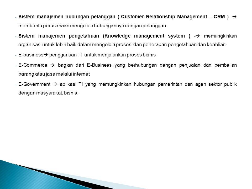 - Sistem manajemen hubungan pelanggan ( Customer Relationship Management – CRM ) -  membantu perusahaan mengelola hubungannya dengan pelanggan.