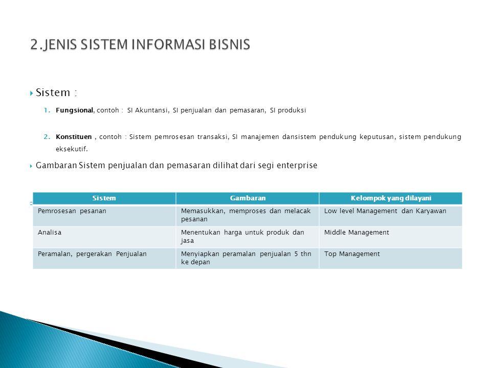  Sistem : 1.Fungsional, contoh : SI Akuntansi, SI penjualan dan pemasaran, SI produksi 2.Konstituen, contoh : Sistem pemrosesan transaksi, SI manajemen dansistem pendukung keputusan, sistem pendukung eksekutif.
