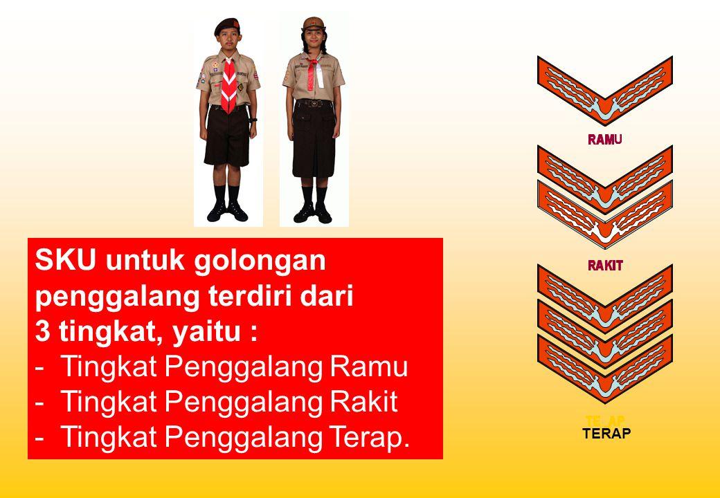 SKU untuk golongan penggalang terdiri dari 3 tingkat, yaitu : - Tingkat Penggalang Ramu - Tingkat Penggalang Rakit - Tingkat Penggalang Terap. TERAP