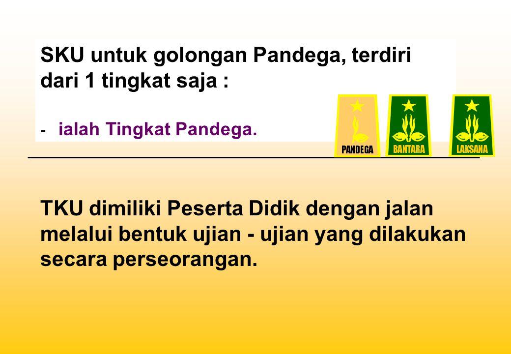 SKU untuk golongan Pandega, terdiri dari 1 tingkat saja : - ialah Tingkat Pandega. TKU dimiliki Peserta Didik dengan jalan melalui bentuk ujian - ujia