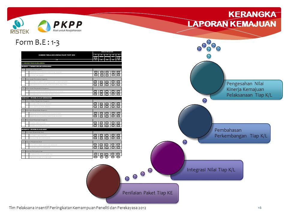 KERANGKA LAPORAN KEMAJUAN Tim Pelaksana Insentif Peningkatan Kemampuan Peneliti dan Perekayasa 2012 16 Form B.E : 1-3 Penilaian Paket Tiap KEIntegrasi Nilai Tiap K/L Pembahasan Perkembangan Tiap K/L Pengesahan Nilai Kinerja Kemajuan Pelaksanaan Tiap K/L