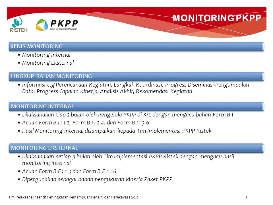 MONITORING PKPP Tim Pelaksana Insentif Peningkatan Kemampuan Peneliti dan Perekayasa 2012 5