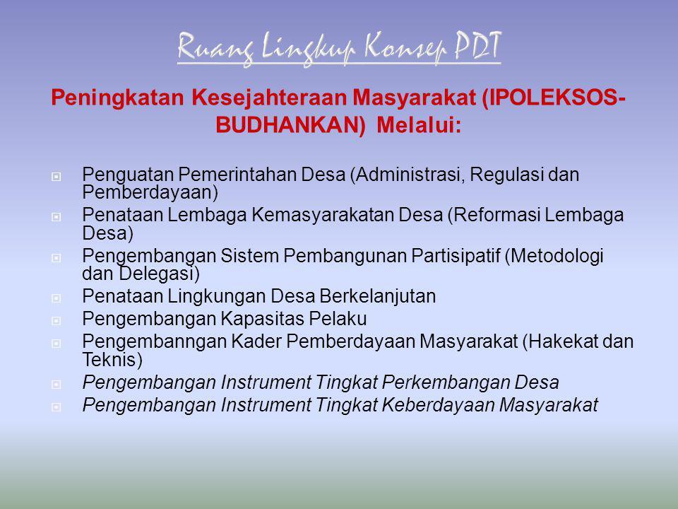  Penguatan Pemerintahan Desa (Administrasi, Regulasi dan Pemberdayaan)  Penataan Lembaga Kemasyarakatan Desa (Reformasi Lembaga Desa)  Pengembangan