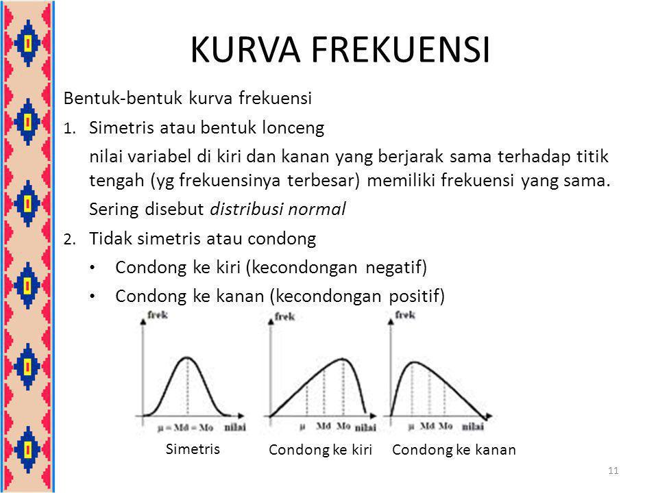 KURVA FREKUENSI Bentuk-bentuk kurva frekuensi 1. Simetris atau bentuk lonceng nilai variabel di kiri dan kanan yang berjarak sama terhadap titik tenga