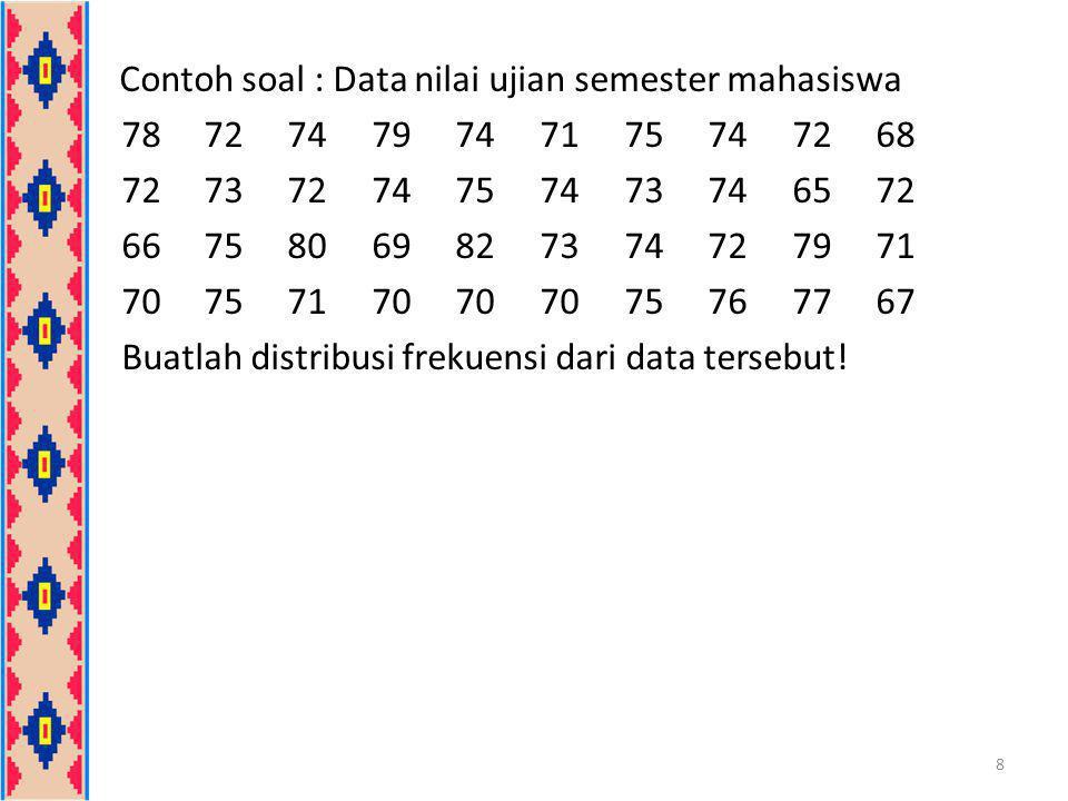 Contoh soal : Data nilai ujian semester mahasiswa 78727479747175747268 72737274757473746572 66758069827374727971 70757170707075767767 Buatlah distribu