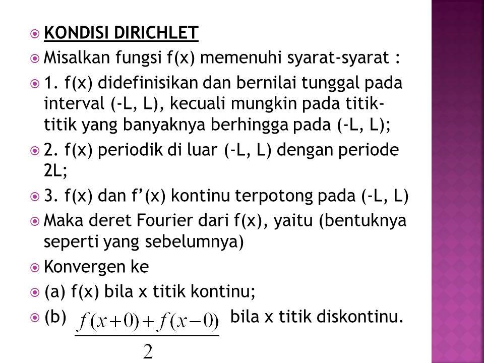  Definisi : sebuah fungsi f(x) adalah :  (a) fungsi genap, jika berlaku : f(-x) = f(x)  (b) fungsi ganjil (gasal), jika berlaku :  f(-x) = -f(x)  Contoh :  (1) f(x) = x 5 – 3x 3 + 2x fungsi ganjil  (2) f(x) = sin x fungsi ganjil  (3) f(x) = cos x fungsi genap