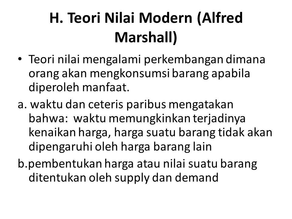 H. Teori Nilai Modern (Alfred Marshall) Teori nilai mengalami perkembangan dimana orang akan mengkonsumsi barang apabila diperoleh manfaat. a. waktu d