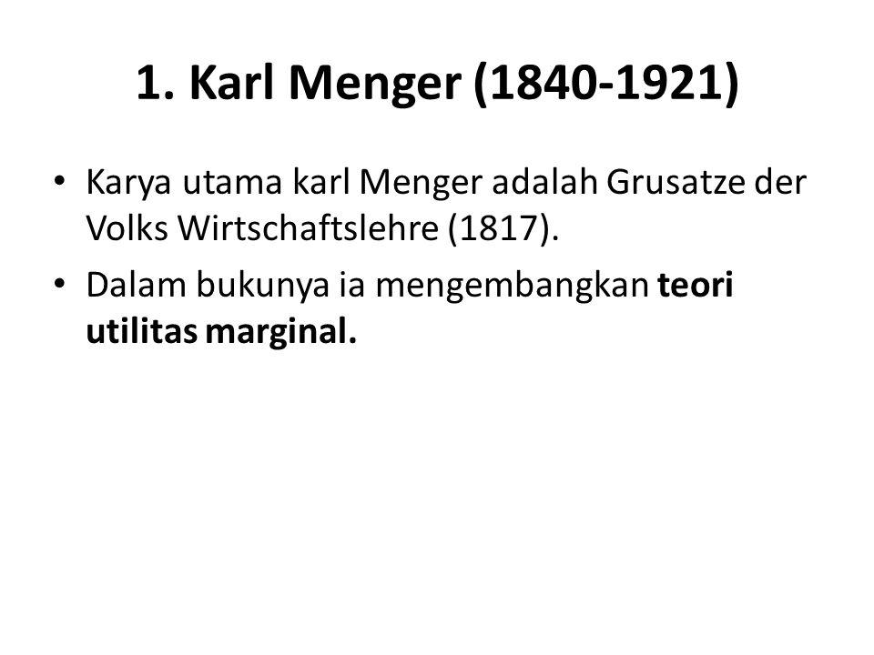 1. Karl Menger (1840-1921) Karya utama karl Menger adalah Grusatze der Volks Wirtschaftslehre (1817). Dalam bukunya ia mengembangkan teori utilitas ma