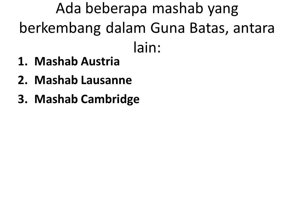 Ada beberapa mashab yang berkembang dalam Guna Batas, antara lain: 1.Mashab Austria 2.Mashab Lausanne 3.Mashab Cambridge