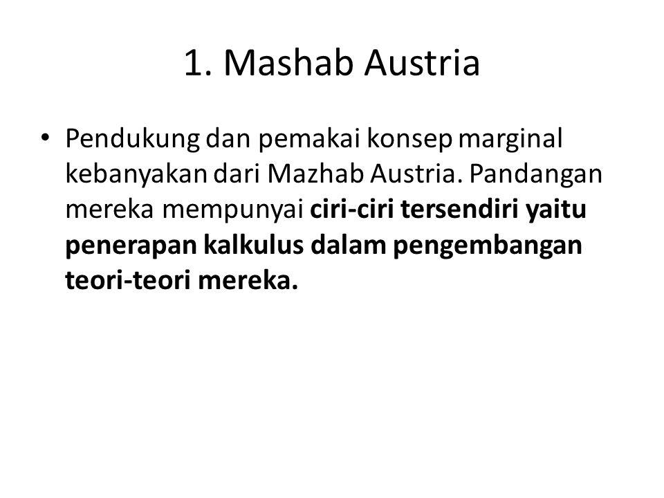 1. Mashab Austria Pendukung dan pemakai konsep marginal kebanyakan dari Mazhab Austria. Pandangan mereka mempunyai ciri-ciri tersendiri yaitu penerapa