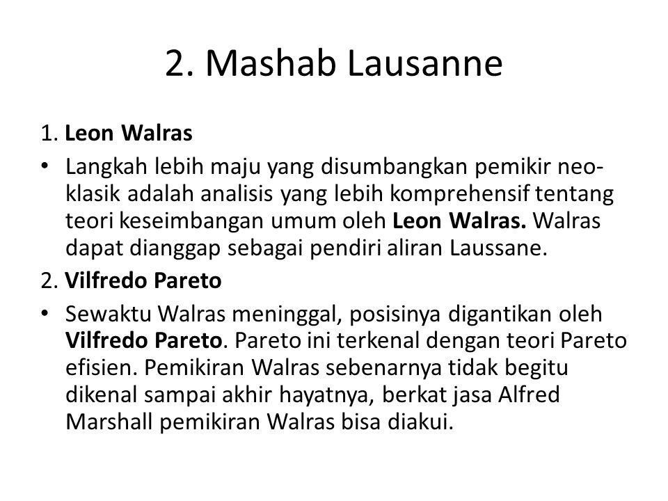 2. Mashab Lausanne 1. Leon Walras Langkah lebih maju yang disumbangkan pemikir neo- klasik adalah analisis yang lebih komprehensif tentang teori kesei