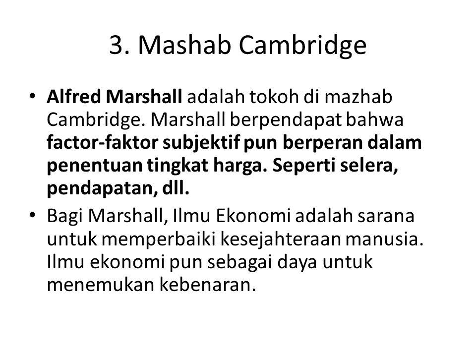 3. Mashab Cambridge Alfred Marshall adalah tokoh di mazhab Cambridge. Marshall berpendapat bahwa factor-faktor subjektif pun berperan dalam penentuan