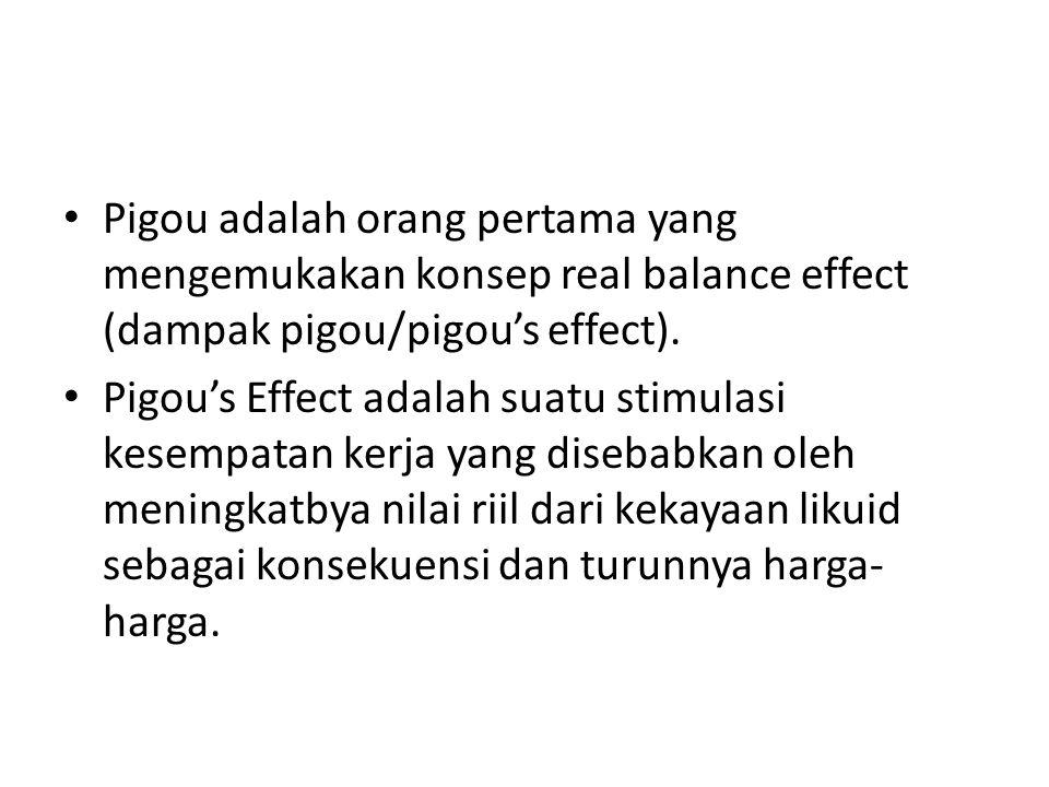 Pigou adalah orang pertama yang mengemukakan konsep real balance effect (dampak pigou/pigou's effect). Pigou's Effect adalah suatu stimulasi kesempata