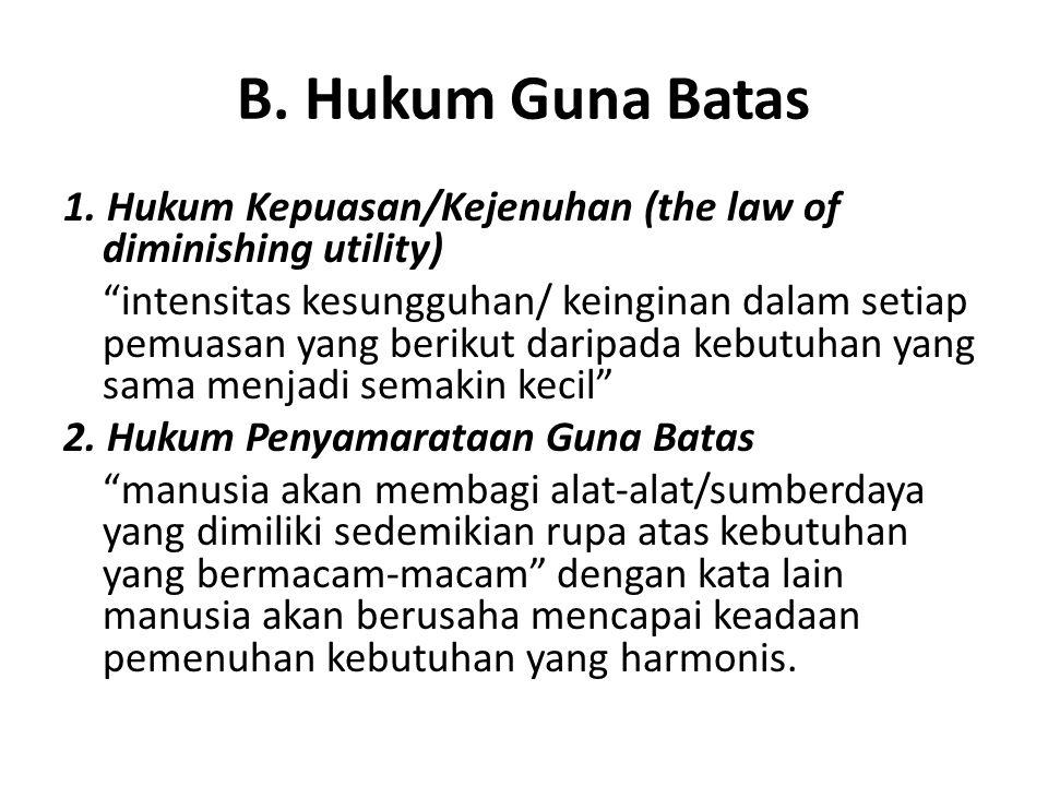 """B. Hukum Guna Batas 1. Hukum Kepuasan/Kejenuhan (the law of diminishing utility) """"intensitas kesungguhan/ keinginan dalam setiap pemuasan yang berikut"""