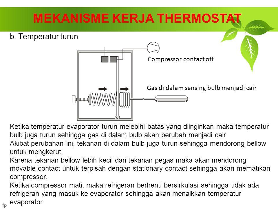 b. Temperatur turun MEKANISME KERJA THERMOSTAT Ketika temperatur evaporator turun melebihi batas yang diinginkan maka temperatur bulb juga turun sehin
