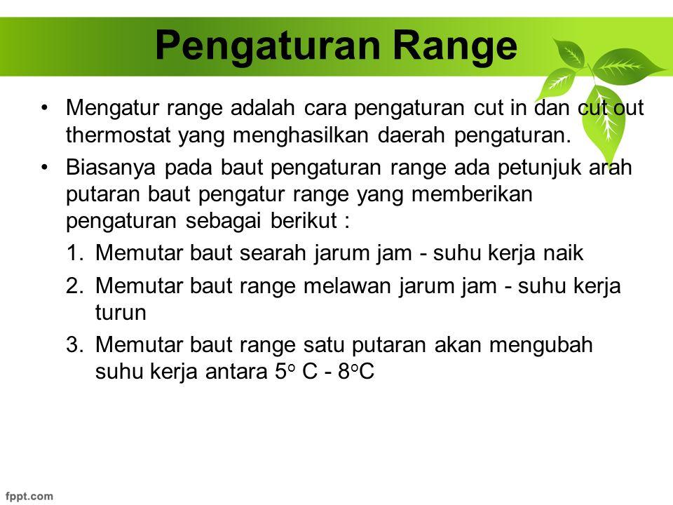 Mengatur range adalah cara pengaturan cut in dan cut out thermostat yang menghasilkan daerah pengaturan. Biasanya pada baut pengaturan range ada petun
