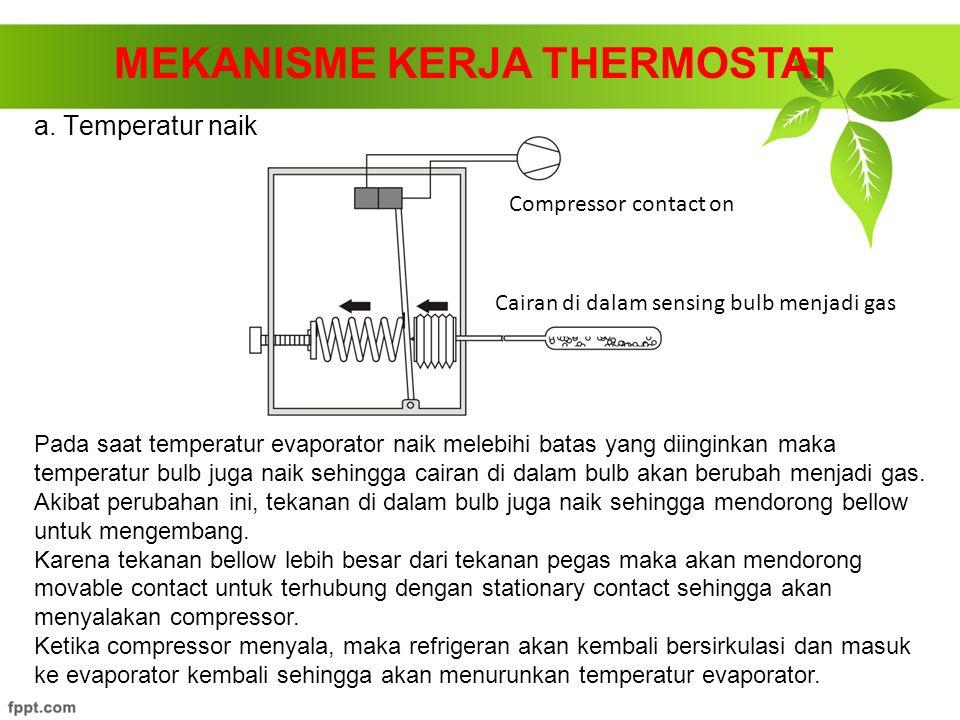 a. Temperatur naik MEKANISME KERJA THERMOSTAT Pada saat temperatur evaporator naik melebihi batas yang diinginkan maka temperatur bulb juga naik sehin