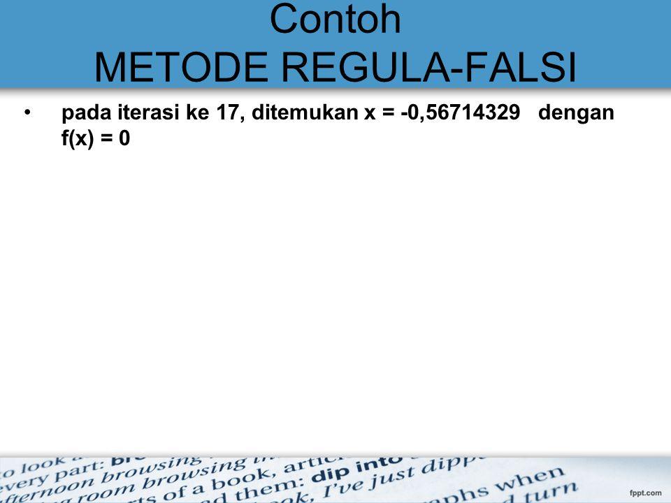 Contoh METODE REGULA-FALSI pada iterasi ke 17, ditemukan x = -0,56714329 dengan f(x) = 0