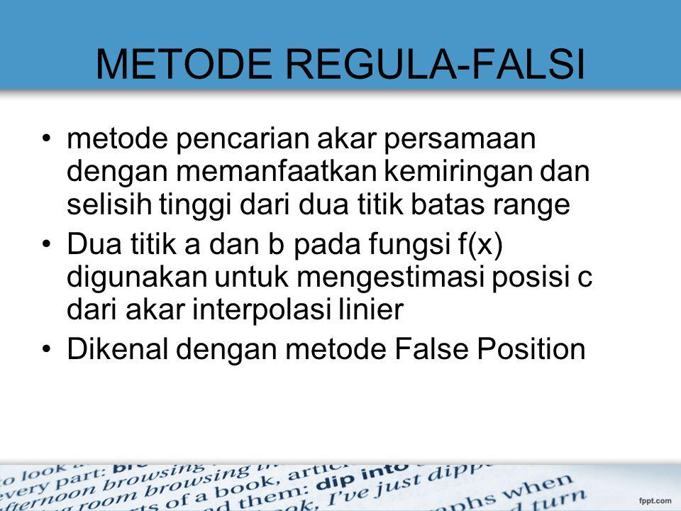 METODE REGULA-FALSI metode pencarian akar persamaan dengan memanfaatkan kemiringan dan selisih tinggi dari dua titik batas range Dua titik a dan b pada fungsi f(x) digunakan untuk mengestimasi posisi c dari akar interpolasi linier Dikenal dengan metode False Position