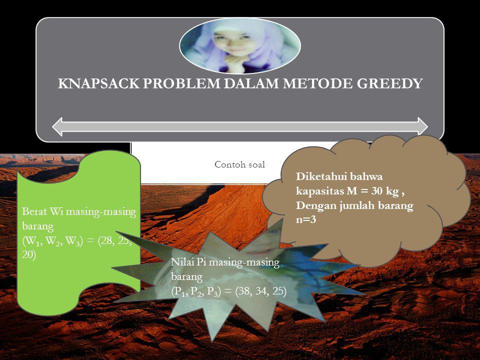 Contoh soal KNAPSACK PROBLEM DALAM METODE GREEDY Diketahui bahwa kapasitas M = 30 kg, Dengan jumlah barang n=3 Berat Wi masing-masing barang (W 1, W 2