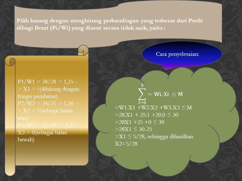 Pilih barang dengan menghitung perbandingan yang terbesar dari Profit dibagi Berat (Pi/Wi) yang diurut secara tidak naik, yaitu : P1/W1 = 38/28 = 1,35
