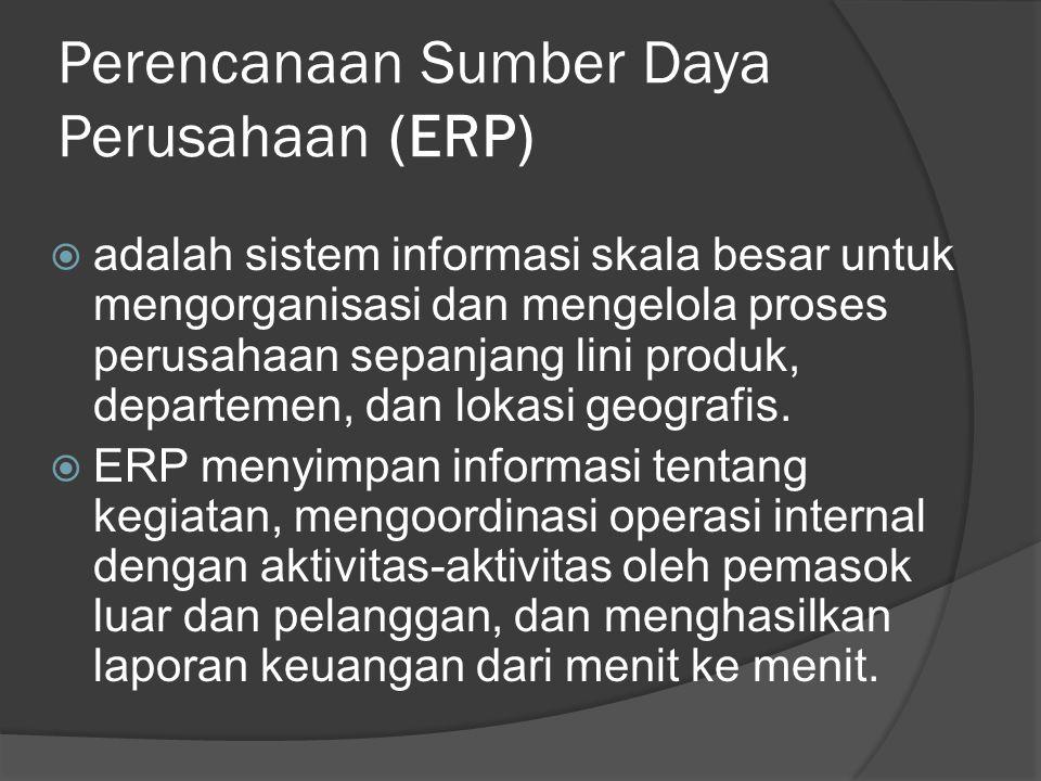 Perencanaan Sumber Daya Perusahaan (ERP)  adalah sistem informasi skala besar untuk mengorganisasi dan mengelola proses perusahaan sepanjang lini pro