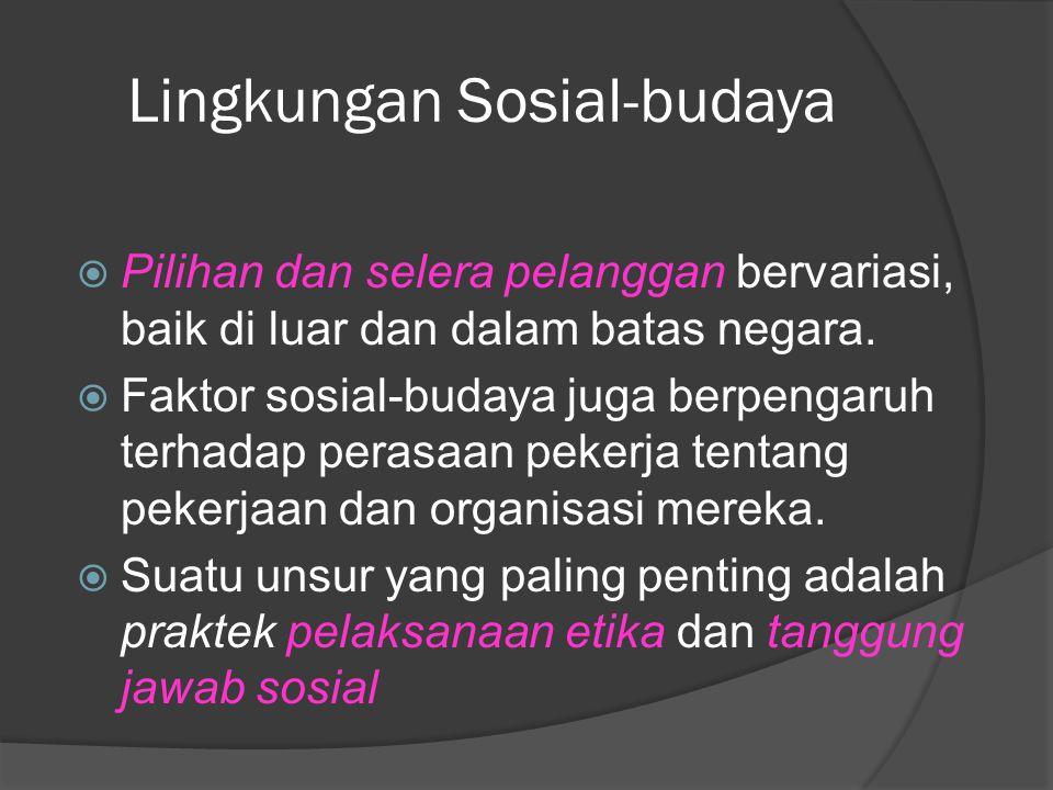 Lingkungan Sosial-budaya  Pilihan dan selera pelanggan bervariasi, baik di luar dan dalam batas negara.  Faktor sosial-budaya juga berpengaruh terha
