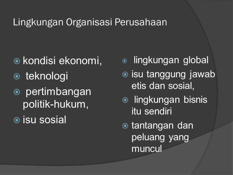 Lingkungan Organisasi Perusahaan  kondisi ekonomi,  teknologi  pertimbangan politik-hukum,  isu sosial  lingkungan global  isu tanggung jawab et